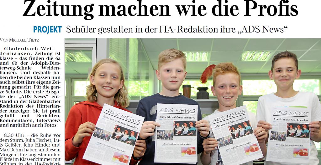"""Zeitungsartikel des Hinterländer Anzeigers über das Gestalten der ersten Ausgabe der """"ADS News"""" in Zusammenarbeit mit dem Hinterländer Anzeiger."""