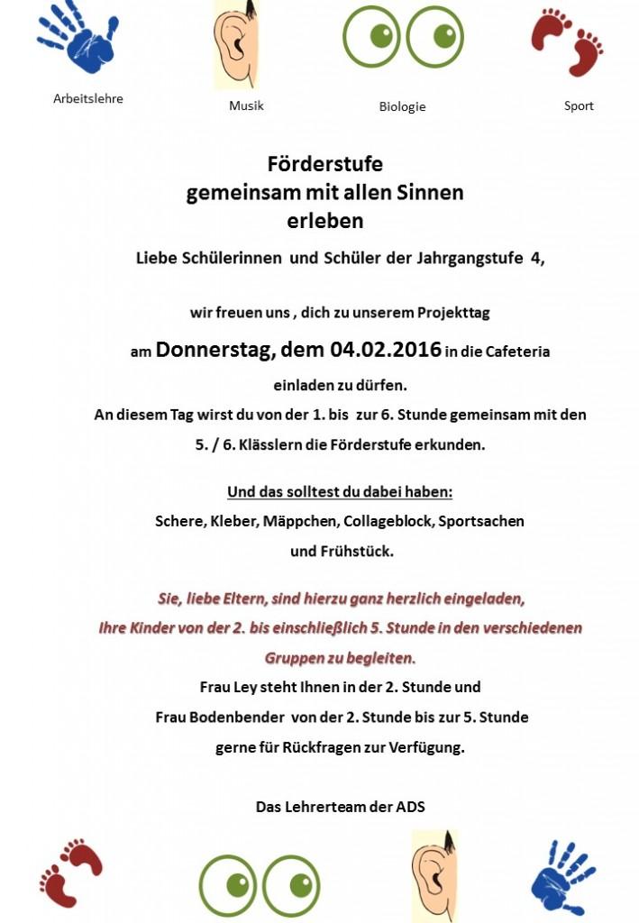 Einladung zum Projekttag am 04.02.2016